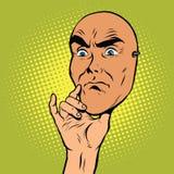 Mascarilla enojada de un hombre La actitud del pensador Imagenes de archivo