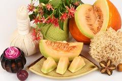Mascarilla para con el melón en Tailandia (piel blanca) Fotografía de archivo libre de regalías