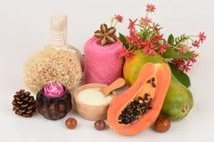 Mascarilla para el tratamiento del acné con la papaya y el yogur Imágenes de archivo libres de regalías