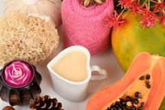 Mascarilla para el tratamiento del acné con la papaya y la leche Fotografía de archivo