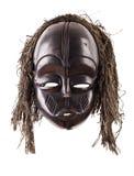 Mascarilla tribal negra encendido aislada en blanco Foto de archivo libre de regalías