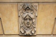 Mascaron on the Art Nouveau building in Prague. Stock Image