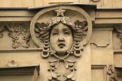 Mascaron on the Art Nouveau building in Prague. Stock Images