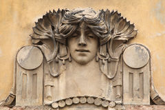 Mascaron on the Art Nouveau building in Prague. Royalty Free Stock Image