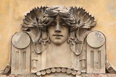 Mascaron on the Art Nouveau building in Prague. Royalty Free Stock Image