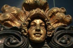 Mascaron golden head Royalty Free Stock Photography