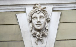 Mascaron on the house. stock image