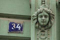 Mascaron na construção de Art Nouveau em Praga Fotografia de Stock Royalty Free