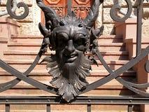 Mascarons från den Lodz slotten Royaltyfria Foton