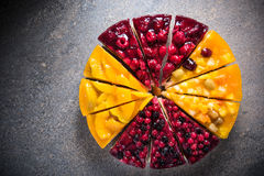 Mascarpone cheesecake with fruits Royalty Free Stock Photo
