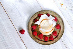 Mascarpone cream mousse cake no baked cheesecake with fresh ra Stock Photo