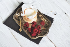 Mascarpone cream mousse cake no baked cheesecake with fresh ra Royalty Free Stock Images