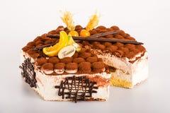 Mascarpone cremoso delicioso de la torta del postre del Tiramisu Foto de archivo libre de regalías