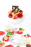 Mascarpone dessert. With fresh fruits royalty free stock photography