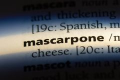 Mascarpone. Word in a dictionary.  concept royalty free stock images