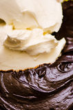 Mascarpone and melted chocolate Stock Photos