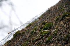 Maschendraht über Moos, Barke, Schilfen und Zweigen - Abschluss decken oben Dach mit Stroh lizenzfreie stockfotos
