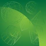 Maschendraht-Formen mit grünem Hintergrund Stockfotografie
