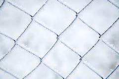 Maschenfiletarbeit bedeckt mit Frost lizenzfreie stockfotografie