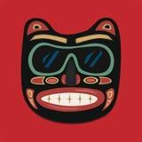 Maschera africana su un fondo rosso Grafici di vettore royalty illustrazione gratis