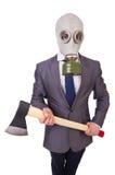 Maschera antigas d'uso dell'uomo d'affari Fotografie Stock Libere da Diritti