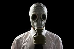 Maschera antigas da portare dell'uomo d'affari Fotografia Stock Libera da Diritti