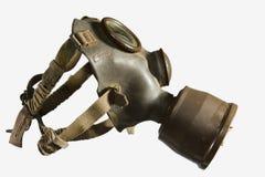 Maschera antigas dell'annata isolata su priorità bassa bianca Fotografia Stock