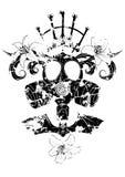 Maschera antigas, giglio e pipistrello illustrazione vettoriale