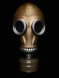 Maschera antigas isolata sul nero Fotografia Stock