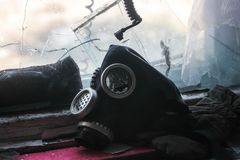 Maschera antigas rotta Fotografia Stock Libera da Diritti