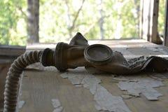 Maschera antigas, zona di Chornobyl fotografia stock libera da diritti