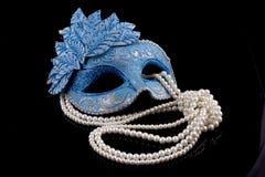 Maschera blu sul nero Immagini Stock Libere da Diritti