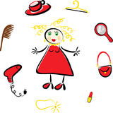Maschera comica della ragazza e delle sue cose illustrazione vettoriale