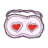 maschera comica di sonno del fumetto con i cuori di amore Fotografia Stock