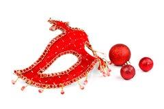 Maschera con gli ornamenti di Natale immagini stock libere da diritti