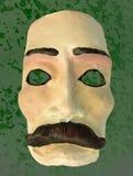 Maschera con il fondo di verde dei baffi Immagine Stock Libera da Diritti