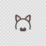 Maschera con le orecchie di gatto isolate su a quadretti trasparente, illustrazione Fascia sveglia del fumetto con le orecchie Fotografie Stock Libere da Diritti