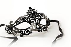 Maschera decorata nera di travestimento su fondo bianco Immagine Stock Libera da Diritti