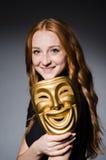Maschera del iwith della donna della testarossa Immagini Stock