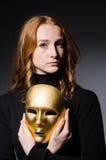 Maschera del iwith della donna della testarossa Fotografia Stock