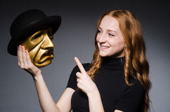 Maschera del iwith della donna della testarossa Immagine Stock Libera da Diritti