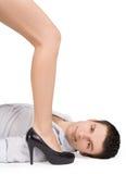 Maschera del piedino della femmina e del giovane in alti talloni Fotografie Stock Libere da Diritti