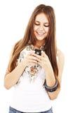 Maschera dell'adolescente felice con il telefono delle cellule Immagini Stock Libere da Diritti