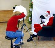 Maschera dell'animale domestico con il Babbo Natale Fotografia Stock Libera da Diritti