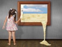 Maschera dell'illustrazione della bambina Immagini Stock Libere da Diritti