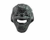 Maschera della commedia nel teatro greco isolato su bianco Fotografia Stock