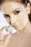 Maschera della donna bella con il cuore del diamante Immagine Stock Libera da Diritti