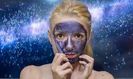 Maschera della galassia fotografia stock libera da diritti