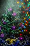 Maschera della neve delle palle dell'albero di Natale Fotografia Stock