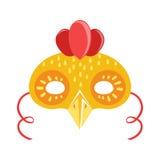 Maschera della testa dell'animale del pollo, elemento del costume di travestimento di carnevale dei bambini Fotografia Stock